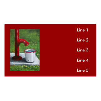 Old Red Pump and Enamel Pail Business Card