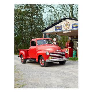 Old Red Restored Vintage Pickup Truck Postcard