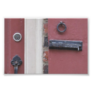 Old Red Shutter with Lock Photo Print