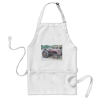Old red tractor adult apron