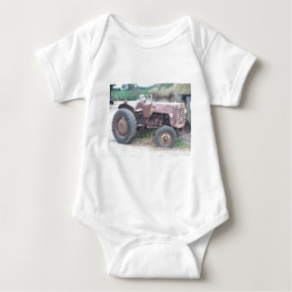 Old red tractor baby bodysuit