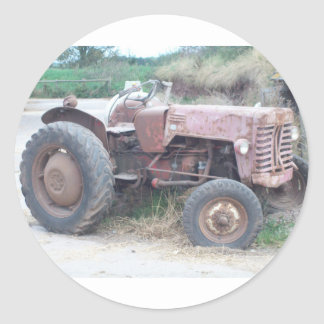 Old red tractor classic round sticker