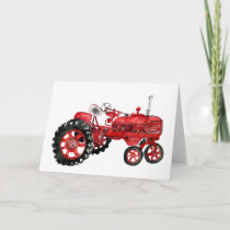 Old red tractor drawing card