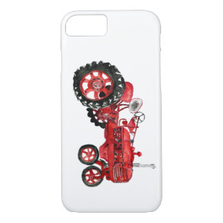 Old red tractor drawing card iPhone 8/7 case
