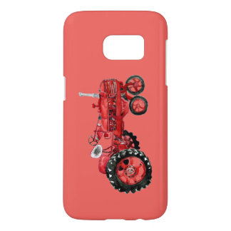 Old red tractor drawing card samsung galaxy s7 case