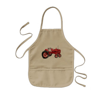 Old red tractor drawing kids' apron