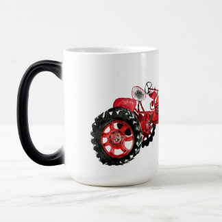 Old red tractor drawing magic mug