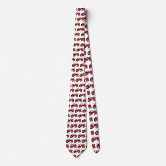 Old red tractor drawing neck tie