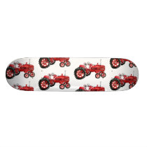 Old red tractor drawing skateboard