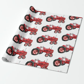 Old red tractor drawing wrapping paper