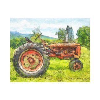 Old Red Tractor in the Field watercolor Canvas Print