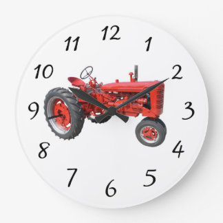 Old Red Tractor Large Clock