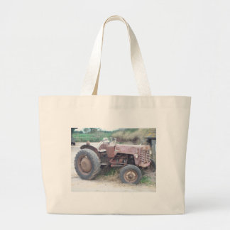 Old red tractor large tote bag