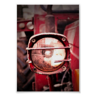 Old Red Tractor Light Poster