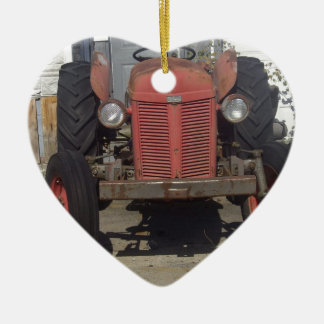Old Red Tractor Double-Sided Heart Ceramic Christmas Ornament