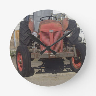 Old Red Tractor Round Clock