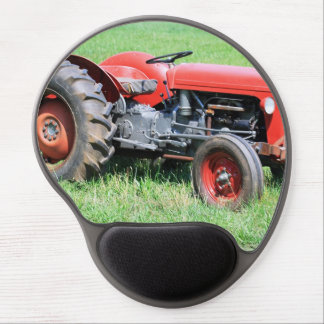Old Red Tractor Sitting In A Green Field Gel Mouse Pad
