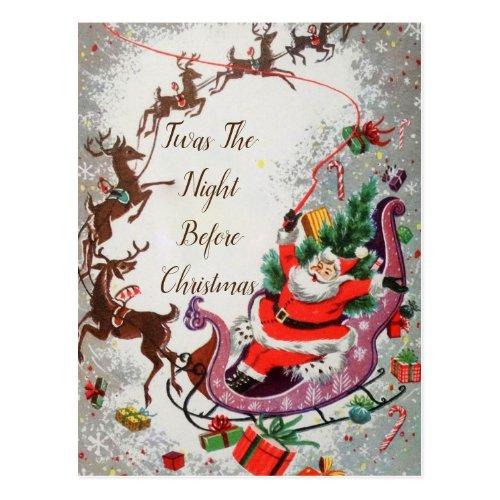 Old Red Vintage Santa Claus Flying Reindeer Sleigh Postcard