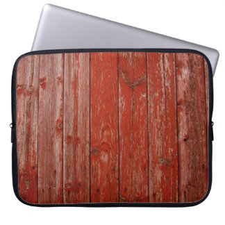Old red wood computer sleeve