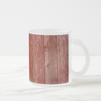 Old red wood frosted glass coffee mug