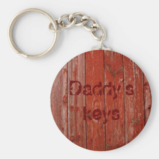 Old red wood basic round button keychain
