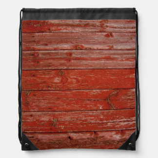 Old red wood cinch bag