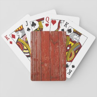 Old red wood poker cards