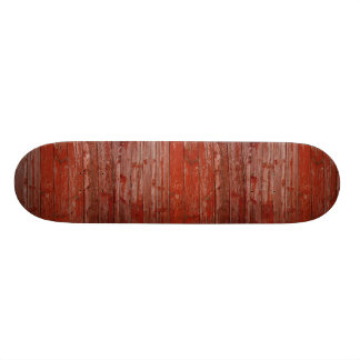 Old red wood skateboard deck