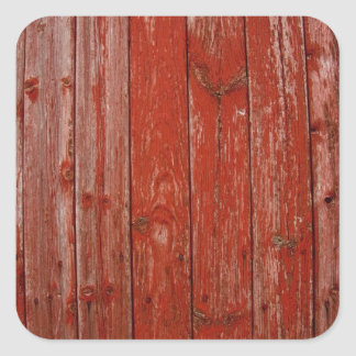 Old red wood square sticker