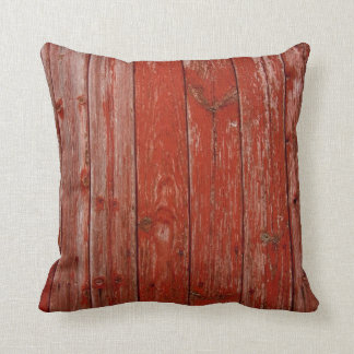 Old red wood throw pillow