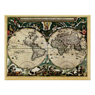 Old Restored World Map #2 Poster