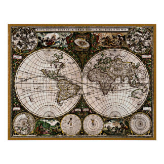 Old Restored World Map#3 Posters