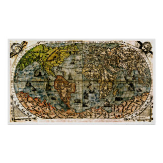 Old Restored World Maps #4 Poster