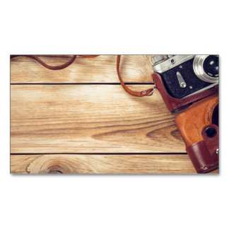 Old Retro Camera On Wooden Table Background Business Card Magnet