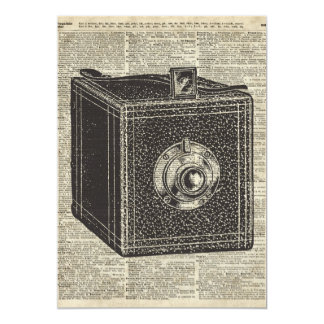 Old Retro Cube Camera Stencil Over Old Book Page Card