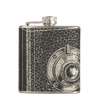 Old Retro Cube Camera Stencil Over Old Book Page Hip Flask