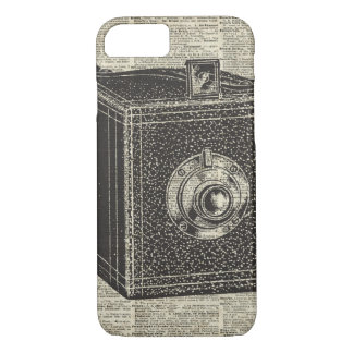 Old Retro Cube Camera Stencil Over Old Book Page iPhone 7 Case