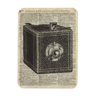 Old Retro Cube Camera Stencil Over Old Book Page Magnet