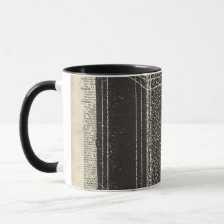 Old Retro Cube Camera Stencil Over Old Book Page Mug