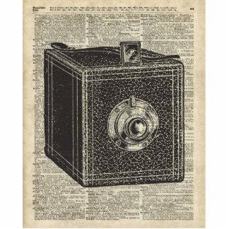Old Retro Cube Camera Stencil Over Old Book Page Statuette