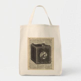 Old Retro Cube Camera Stencil Over Old Book Page Tote Bag