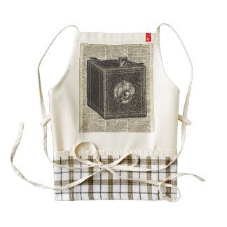 Old Retro Cube Camera Stencil Over Old Book Page Zazzle HEART Apron