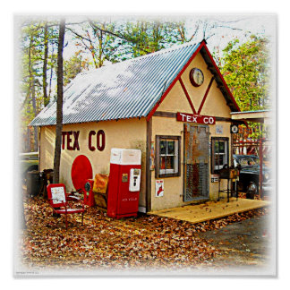 Old Retro Gas Station and Soda Machine Poster