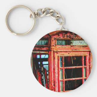 Old Retro Rustic Telephone booth Basic Round Button Keychain