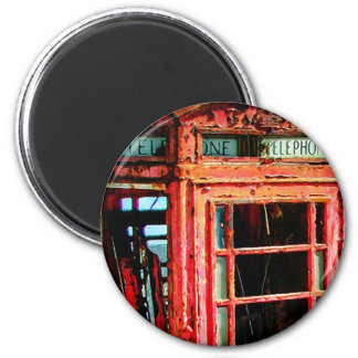 Old Retro Rustic Telephone booth 2 Inch Round Magnet
