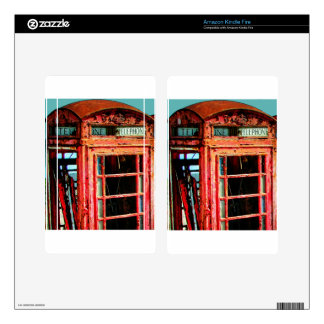 Old Retro Rustic Telephone booth Decals For Kindle Fire