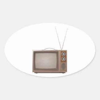 Old Retro TV Oval Sticker