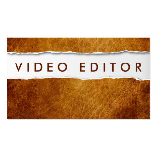 Old Ripped Paper Video Editor Business Card