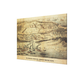 Old Roanoke Island Burnside Expedition Map (1862) Canvas Print