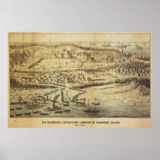 Old Roanoke Island Burnside Expedition Map (1862) Poster